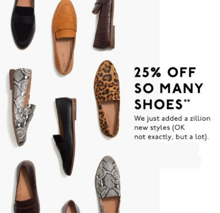 25% Off Shoes from Madewell