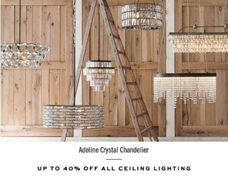 Up to 40% Off All Ceiling Lighting from Pottery Barn