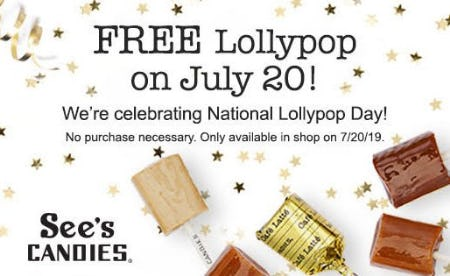 Free lollypop on July 20th! from See's Candies