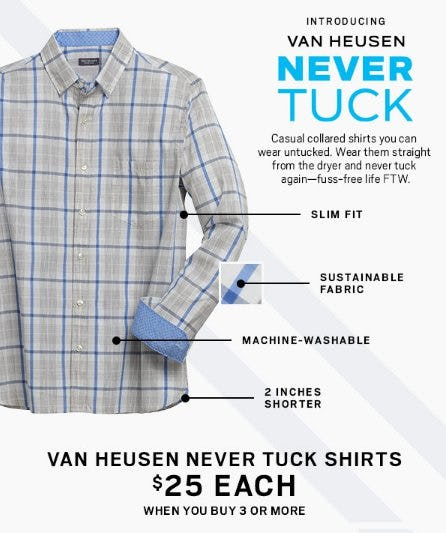 Van Heusen Never Tuck Shirts $25 Each When You Buy 3 or More from Men's Wearhouse