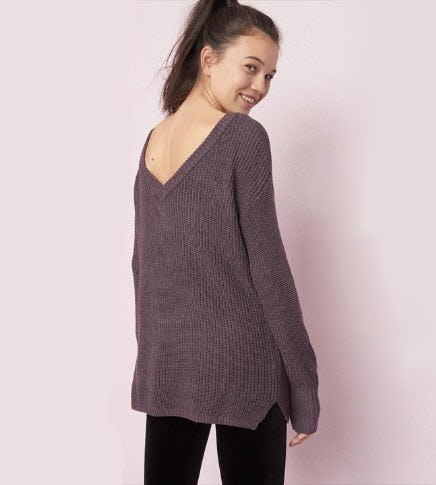 Reversible V-Neck Tunic Sweater