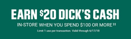 Earn $20 Dick's Cash from Dick's Sporting Goods