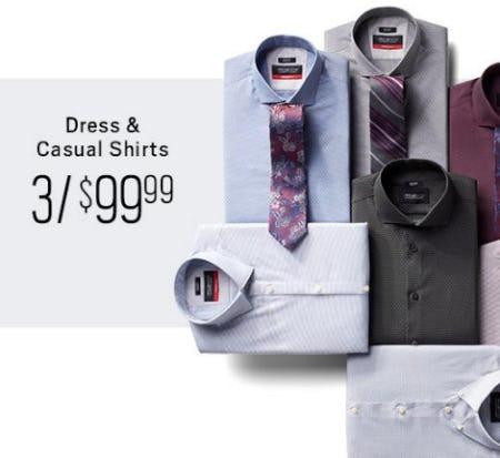Dress & Casual Shirts 3 for $99.99 from Men's Wearhouse