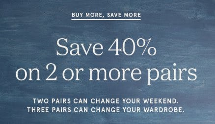 Save 40% on 2 or More Pairs from Rockport