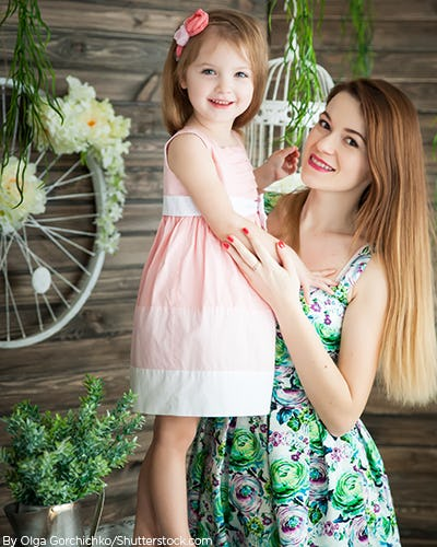 Young girl with mother wearing floral spring dresses