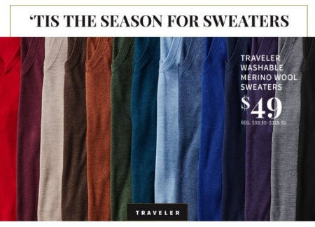 Traveler Washable Merino Wool Sweaters $49 from Jos. A. Bank