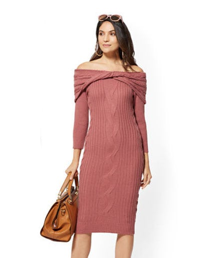 Off-The-Shoulder Sweater Dress from New York & Company