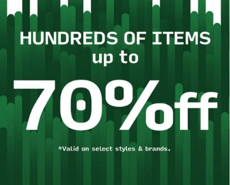 Up to 70% Off Select Styles & Brands