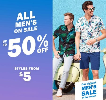 All Men's On Sale up to 50% Off from Old Navy