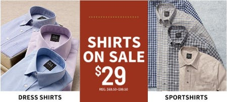 Shirts on Sale $29 from Jos. A. Bank