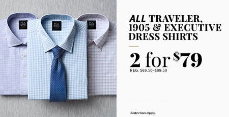 All Traveler, 1905 & Executive Dress Shirts 2 for $79 from Jos. A. Bank