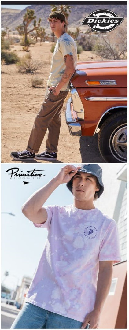 New from Dickies and Primitive from Tillys