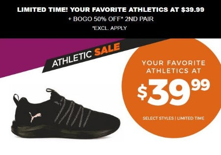 Athletics at $39.99 plus BOGO 50% Off 2nd Pair from Rack Room Shoes