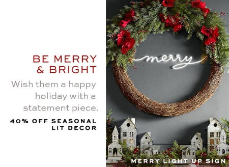 40% Off Seasonal Lit Decor from Pottery Barn