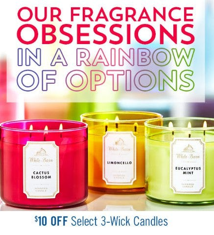 $10 Off Select 3-Wick Candles from Bath & Body Works/White Barn