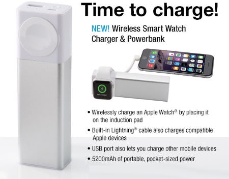 New Wireless Smart Watch Charger & Powerbank from Brookstone