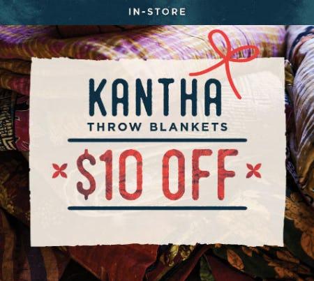 $10 Off Kantha Throw Blankets