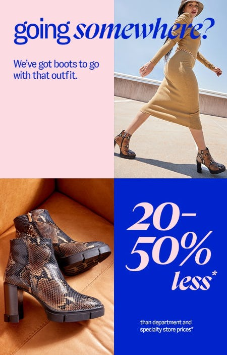 Boots 20-50% Less from Marshalls