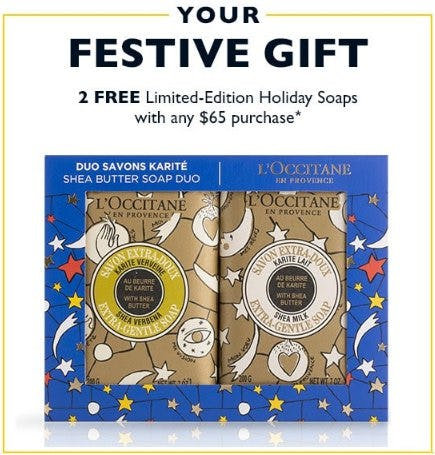 2 Free Limited-Edition Holiday Soaps With Any $65 Purchase from L'Occitane