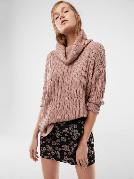 Extreme Circle Hem Cowl Neck Sweater