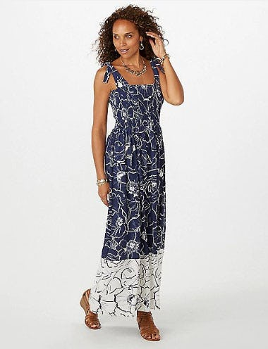 Smocked Crepe Floral Maxi Dress from Dress Barn, Misses And Woman