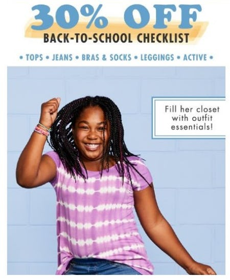 30% Off Back-to-School Checklist from Justice