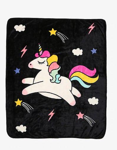 Jumping Unicorn Throw Blanket