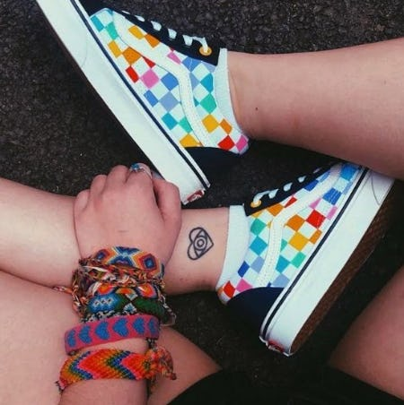 Vans Old Skool Rainbow Chex Skate Shoes from Journeys