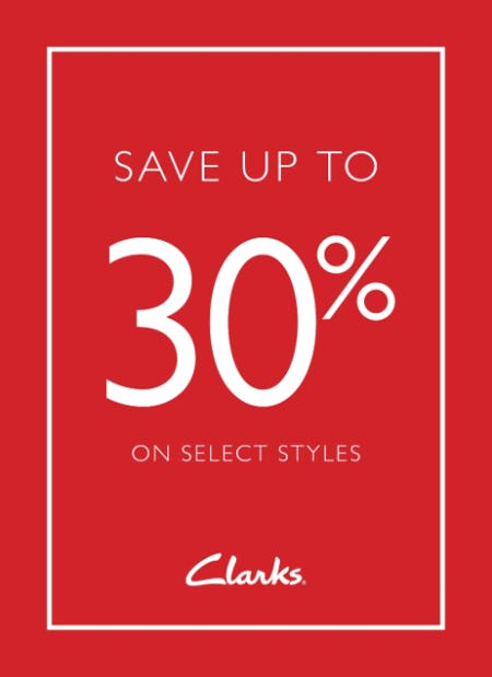 Save Up to 30% from Clarks
