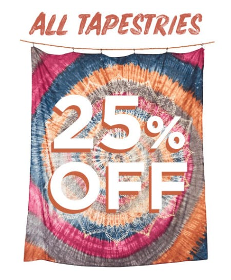 25% Off All Tapestries from Earthbound Trading Company