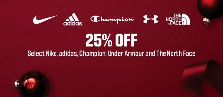 25% Off Select Nike, adidas, Champion, Under Armour and The North Face from Dick's Sporting Goods