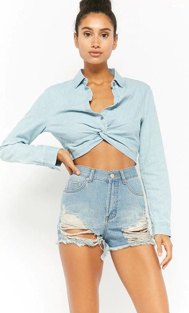 Frayed Distressed Denim Shorts