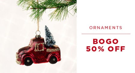 BOGO 50% Off Ornaments