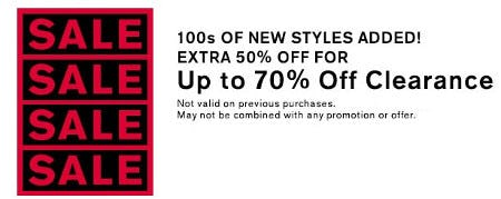 Extra 50% Off for Up to 70% Off Clearance from Express