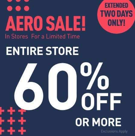 60% Off or More Aero Sale from Aéropostale