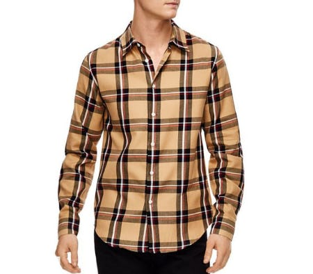 Sandro Tartan Plaid Slim Fit Button-Down Shirt from Bloomingdale's