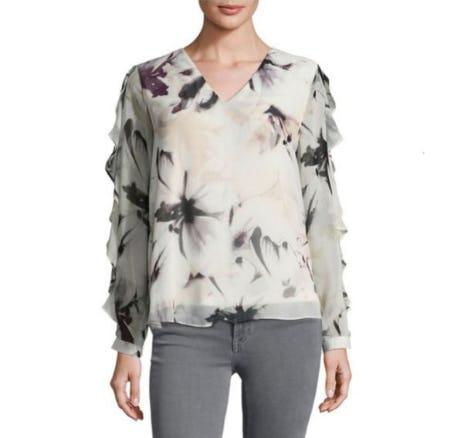 Calvin Klein Ruffled-Sleeve Top