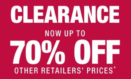 Clearance Now up to 70% Off Other Retailers' Prices