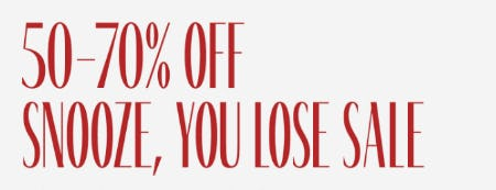 50-70% Off Snooze, You Lose Sale from Aritzia