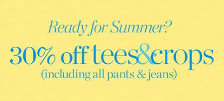 30% Off Tees & Crops from Talbots