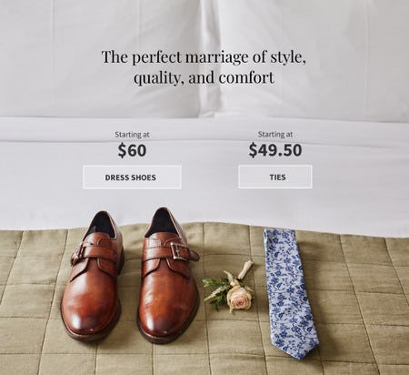Dress Shoes Starting at $60 and Ties Starting at $49.50 from Jos. A. Bank