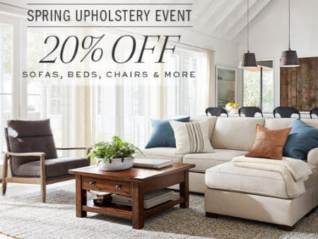 20% Off Spring Upholstery Event from Pottery Barn