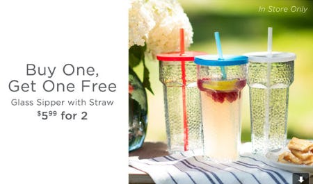 BOGO Free Glass Sipper with Straw from Kirkland's