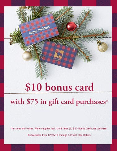 $10 Bonus Card with $75 in Gift Card Purchases from Abercrombie Kids