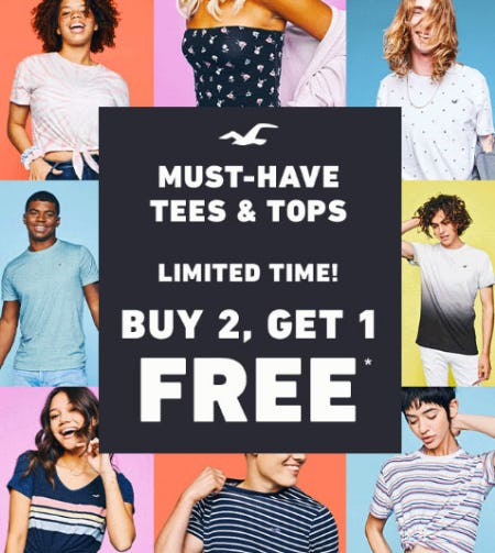 B2G1 Free Must-Have Tees & Tops from Hollister Co.