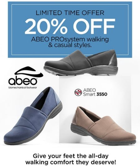 20% Off ABEO PROsystem Walking & Casual Styles from THE WALKING COMPANY