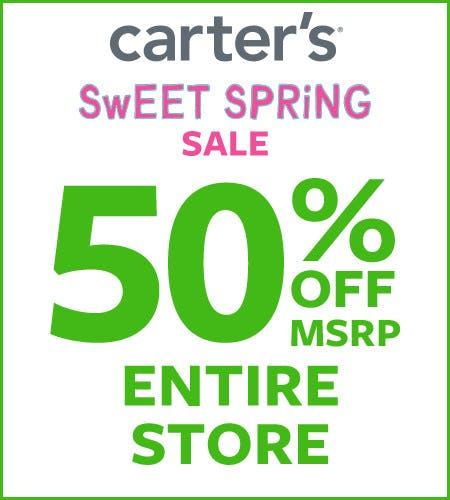 Sweet Spring Sale 50% Off* Entire Store from Carter's