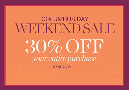 30% Off Columbus Day Weekend Sale from Talbots