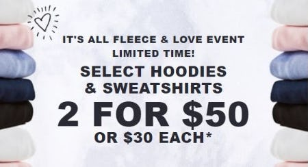 2 for $50 Select Hoodies & Sweatshirts from Hollister Co.