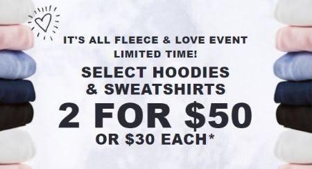 2 for $50 Select Hoodies & Sweatshirts